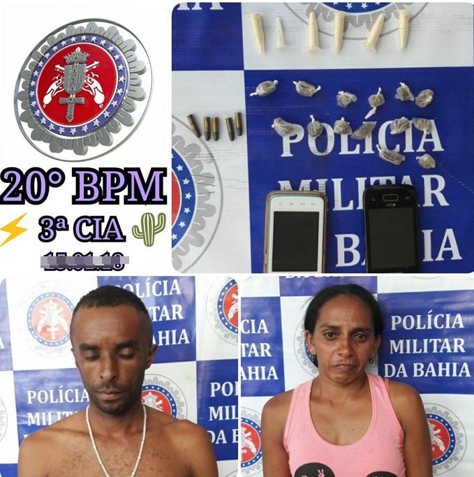 Após denúncia, PM apreende drogas em residência e prende casal em Jeremoabo- BA